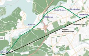 Ehemaliger Verlauf der Stammbahn: Vom Bahnhof Zehlendorf über Zehlendorf-Süd und Düppel-Kleinmachnow nach Griebnitzsee.