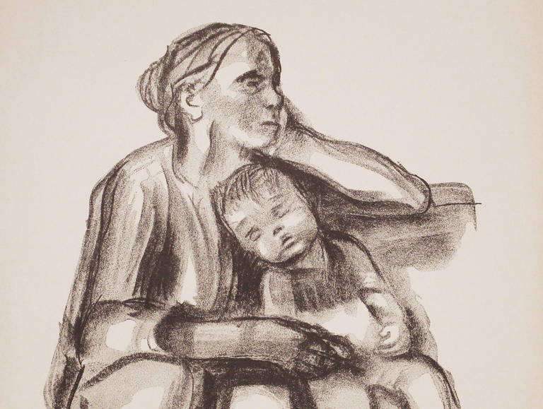Käthe Kollwitz, Arbeiterfrau mit schlafendem Jungen, 1927, Kreidelithografie. Foto: Käthe-Kollwitz-Museum Berlin, Privatsammlung NRW