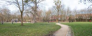 Der weitläufige Yehudi-Menuhin-Park erstreckt sich zwischen der Potsdamer Chaussee und Am Rohrgarten.
