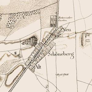 Alt- und Neu-Schöneberg um 1798. Ausschnitt von I. F. Schneider: Wilmersdorf im Kartenbild.