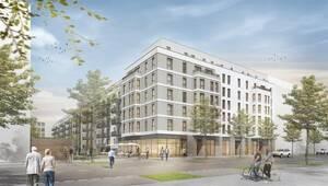 So soll es nach der Fertigstellung an der Schöneberger Linse aussehen.Grafik: Thoma Architekten