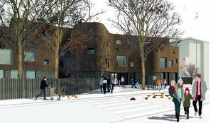 Der erstplatzierte Entwurf für die Kindertagesstätte am Ortlerweg.  Illustration: Kontext Architekten GmbH