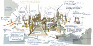 Eine Skizze des sanierten Spielplatzes an der Barbarossastraße. Skizze: ZIMMER.OBST GmbH Spielraumgestaltung