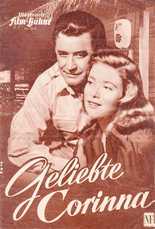 """Filmplakat """"Geliebte Corinna"""" aus dem Jahr 1956. Hans Söhnker mit seiner Filmpartnerin Elisabeth Müller. Illustrierte Filmbühne/Sammlung E. und G. Engel"""