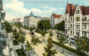 Die Rheinstraße nahe Kaisereiche, wie sie einst war. Historische Postkarte, koloriert ca. 1910, Verlag Goldiner.