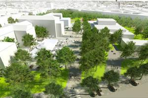 Die Bürgerinitiative Fasanenplatz möchte im Gerhart-Hauptmann-Park neuen Begegnungs- und Kulturraum entstehen lassen.  Simulation: Hager Partner AG