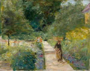 Max Liebermann: Der Nutzgarten in Wannsee nach Westen, auf dem Weg eine Gärtnerin, 1924 Kunstsammlung Zwickau. Foto: Fotoatelier Lorenz, Zschorlau