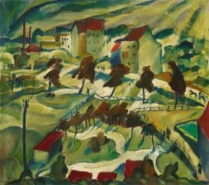 Franz Heckendorf: Vorstadt-Landschaft, 1919,  Öl/Lwd., 80 x 90,5 cm.