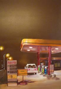 Tankstelle aperto, Öl auf Leinwand, 70 x 120cm, Galerie Kunst Krämer.