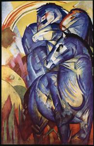 Franz Marc, Der Turm der blauen Pferde, 1913. Öl auf Leinwand, 200 x 130cm, Nationalgalerie, Staatliche Museen zu Berlin, seit 1945 verschollen.