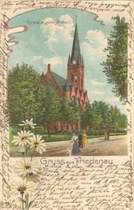 Kirche zum guten Hirten auf dem Friedrich-Wilhelm-Platz, Postkarte, gelaufen am 18.März 1902 von Friedenau nach Constantinopel. Archiv FBS