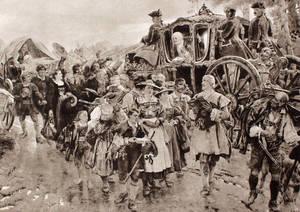 König Friedrich Wilhelm I. begegnet den Salzburgern bei Zehlendorf. Das Bild ist einem Gemälde von Fritz Neumann aus dem Jahre 1882 nachgezeichnet. Archiv Heimatverein Zehlendorf