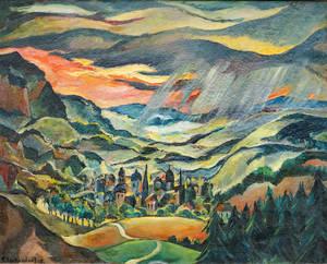 """""""Stadt im Gebirge"""" (1919) von Franz Heckendorf. Foto: Galerie Mutter Fourage"""