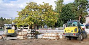 Auf dem Alfred-Grenander-Platz rollen die Bagger, damit Zehlendorf einen weiteren Platz mit hoher Aufenthaltsqualität bekommt.