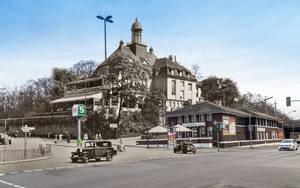 """Wo früher der Kaiserpavillon """"Zum Schultheiß"""" und die Wannseeschänke waren, befindet sich heute das Restaurant Loretta und der angeschlossene Biergarten (Fotomontage)."""