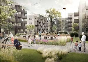 Bis Ende 2021 entstehen 182 Wohnungen in der Mudrastraße. Visualisierung: Planungsgemeinschaft Bollinger + Fehlig Architekten GmbH BDA und Bernrieder.Sieweke-Lagemann.Architekten BDA GmbH