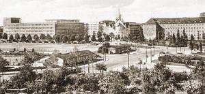 Berlin-Wilmersdorf, Fehrbelliner Platz mit dem Versicherungsgebäude von Emil Fahrenkamp, Postkarte aus den 1930er-Jahren. Archiv Museum Charlottenburg-Wilmersdorf