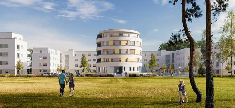"""Visualisierung des Neubauvorhabens """"Wohnen am Turm"""". Grafik: IBT.PAN."""
