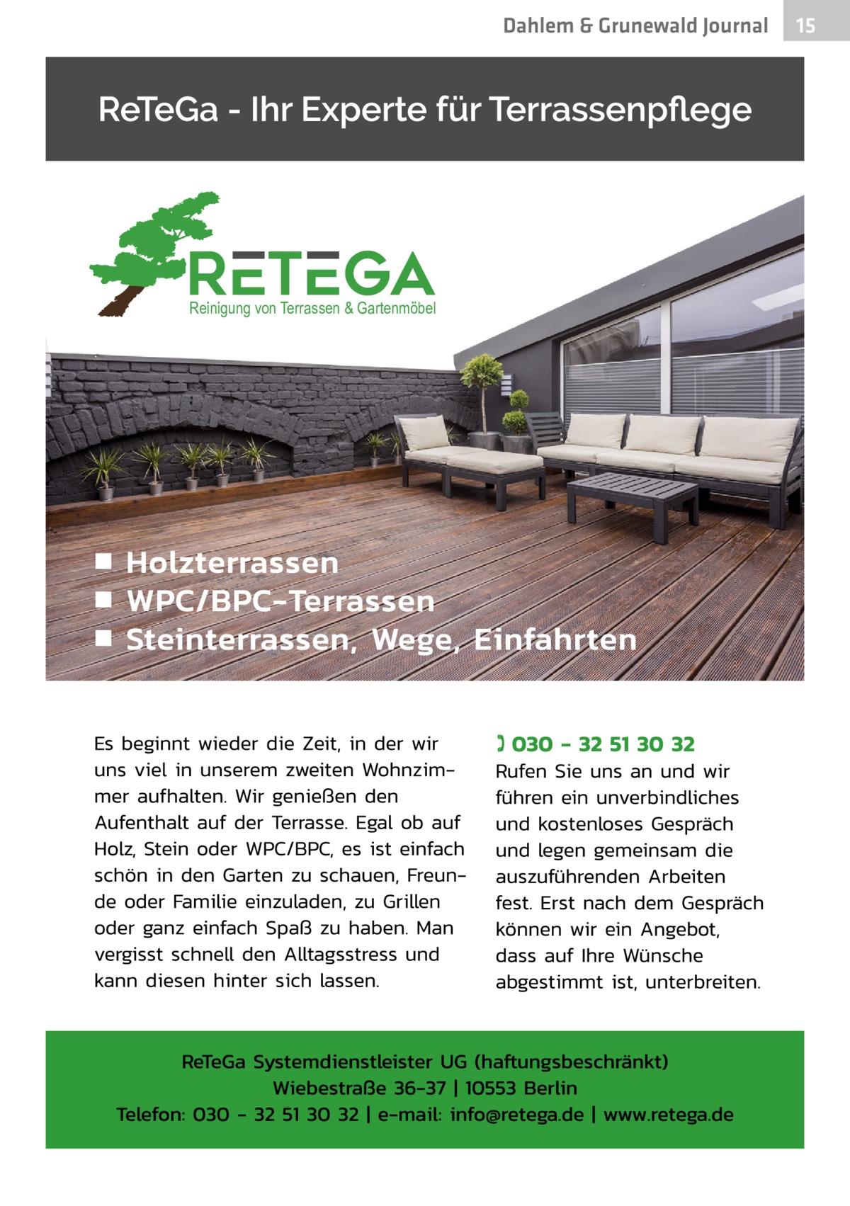 Dahlem & Grunewald Gesundheit Journal  Reinigung von Terrassen & Gartenmöbel  15 15