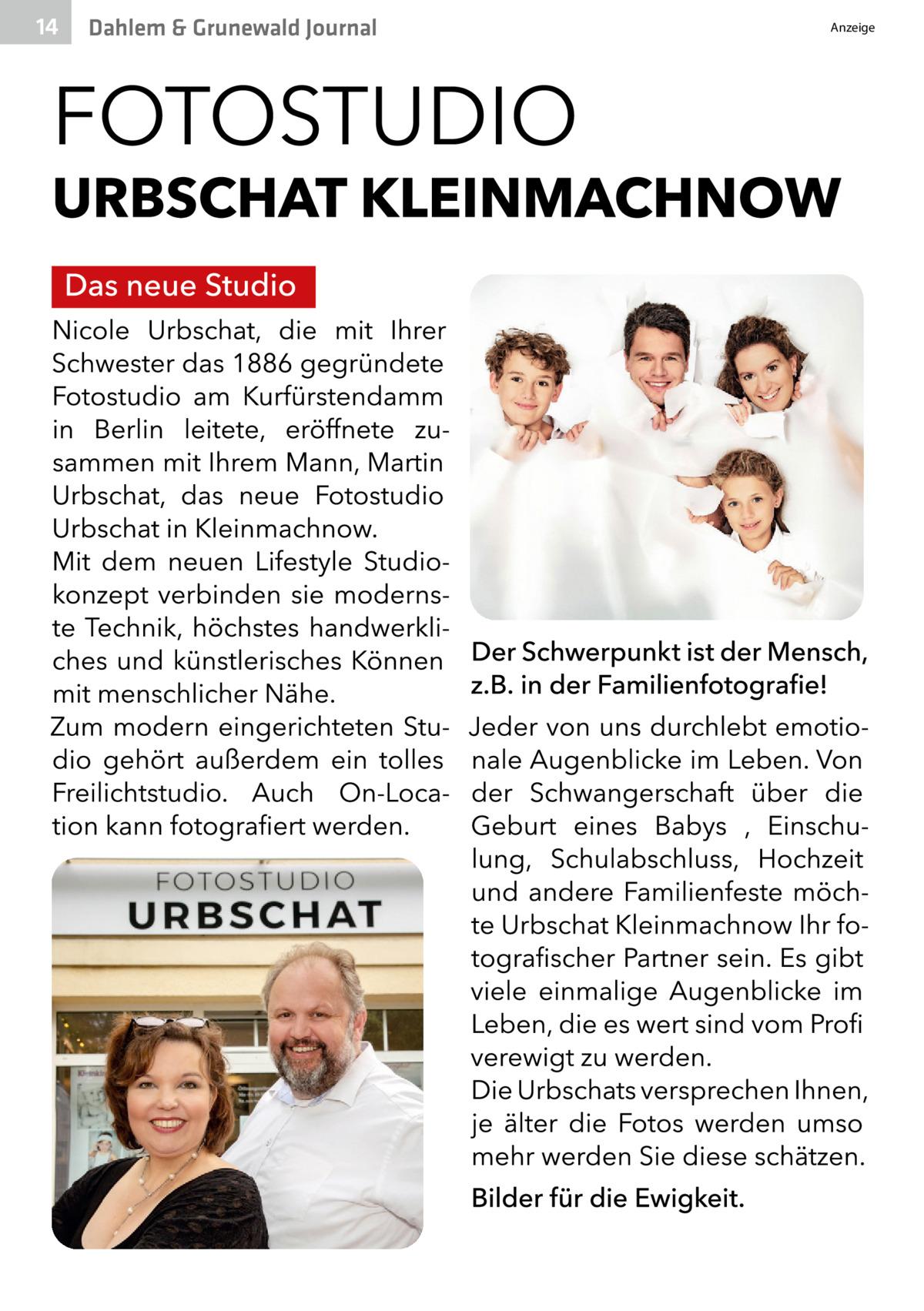 14  Dahlem & Grunewald Journal  Anzeige