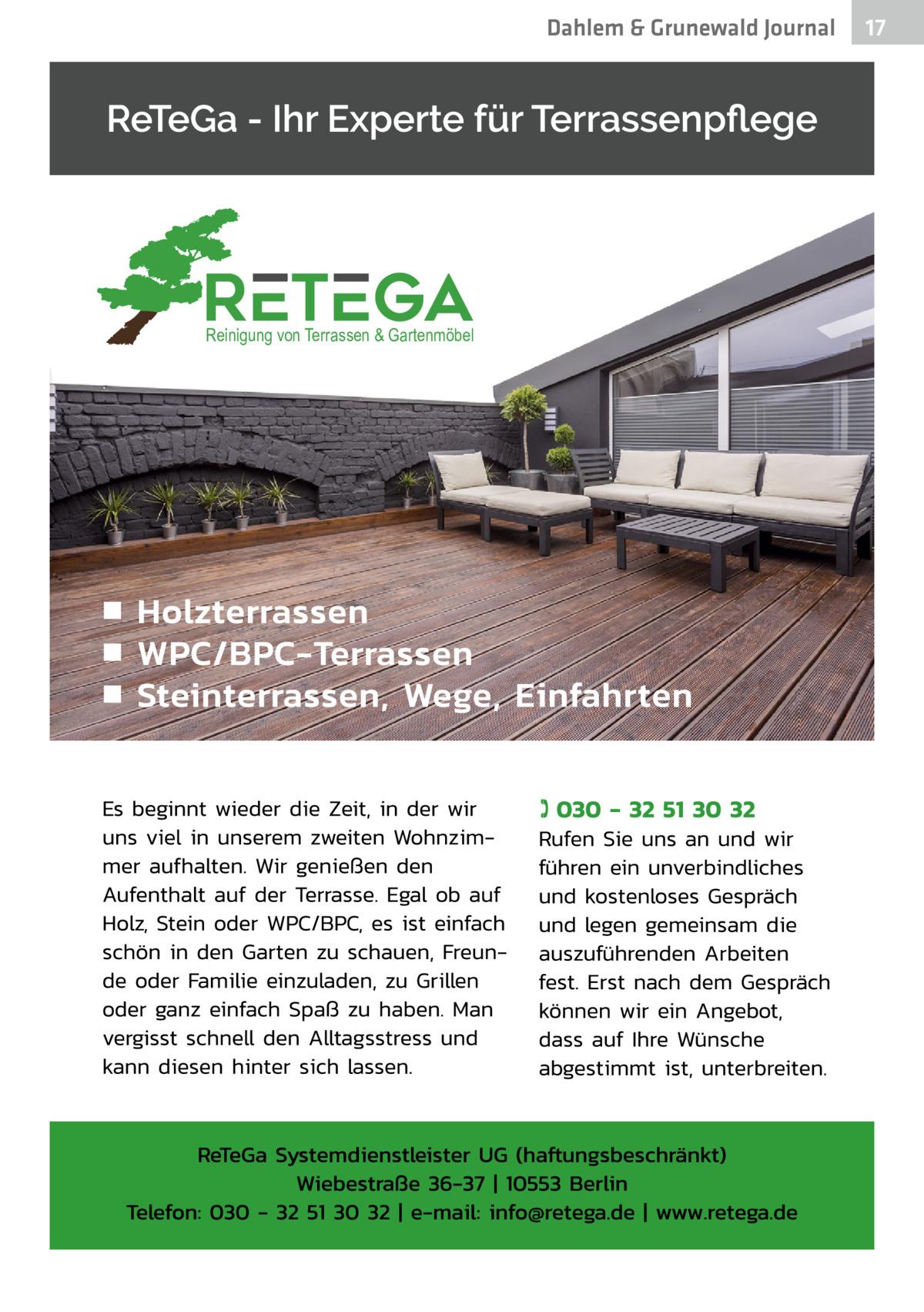 Dahlem & Grunewald Journal  Reinigung von Terrassen & Gartenmöbel  17 17