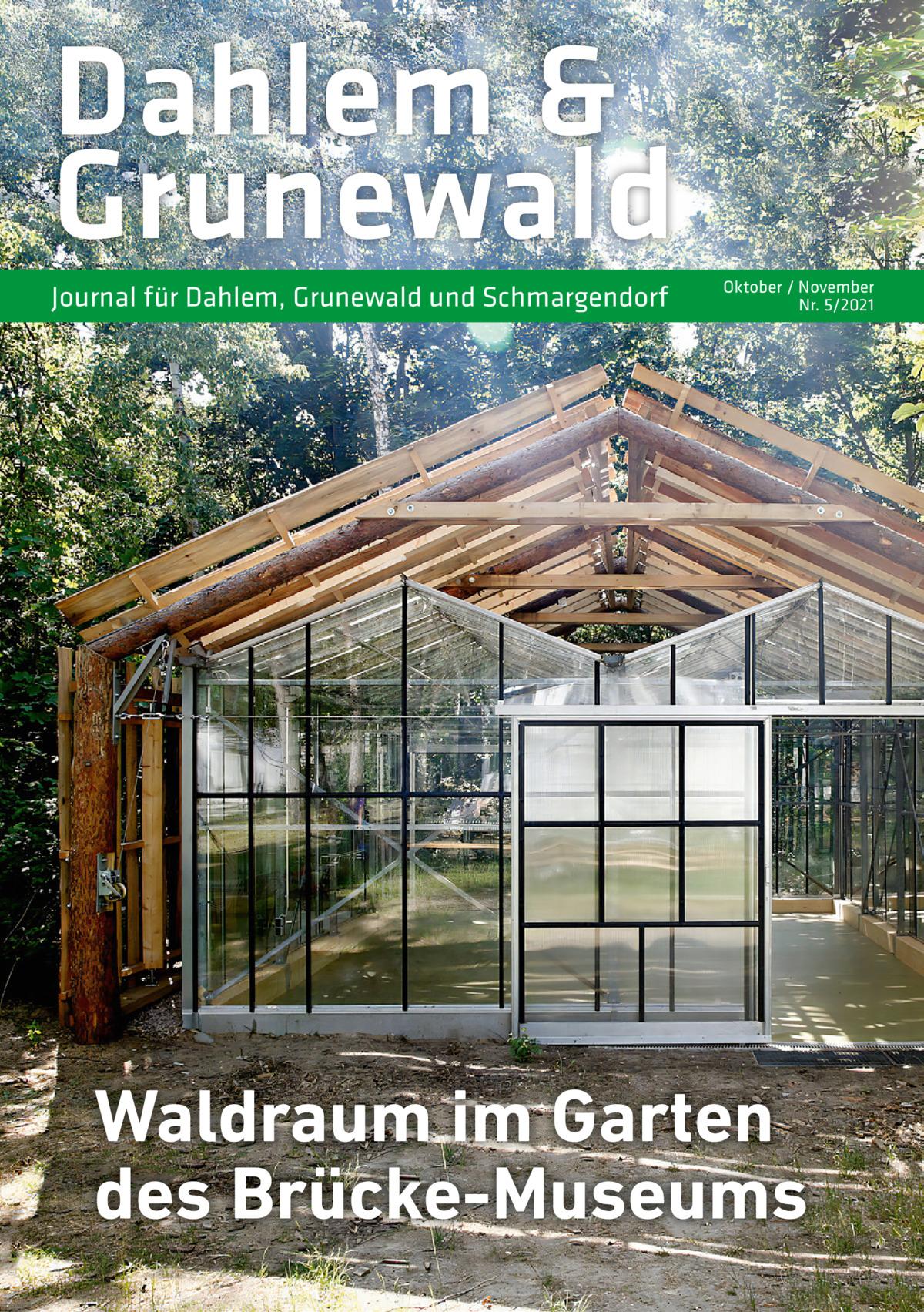 Dahlem & Grunewald Journal für Dahlem, Grunewald und Schmargendorf  Oktober / November Nr. 5/2021  Waldraum im Garten des Brücke-Museums
