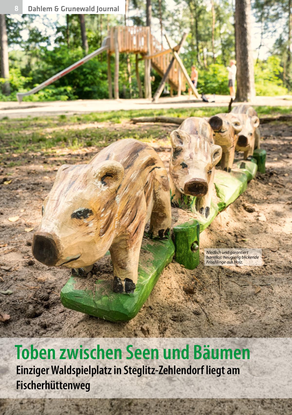 8  Dahlem & Grunewald Journal  Niedlich und garantiert harmlos: Neugierig blickende Frischlinge aus Holz.  Toben zwischen Seen und Bäumen Einziger Waldspielplatz in Steglitz-Zehlendorf liegt am Fischerhüttenweg