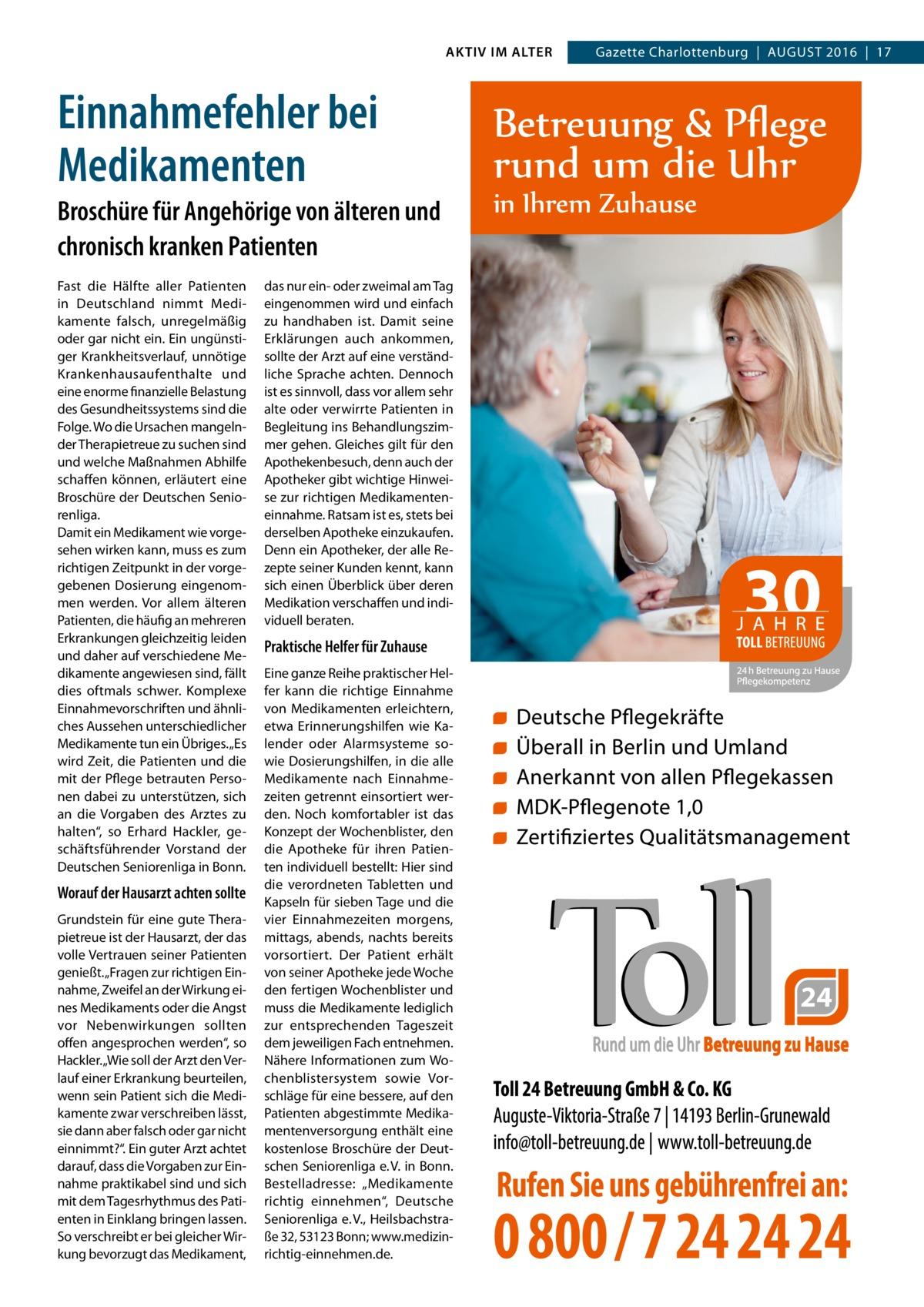 """AKTIV IM ALTER  Einnahmefehler bei Medikamenten Broschüre für Angehörige von älteren und chronisch kranken Patienten Fast die Hälfte aller Patienten in Deutschland nimmt Medikamente falsch, unregelmäßig oder gar nicht ein. Ein ungünstiger Krankheitsverlauf, unnötige Krankenhausaufenthalte und eine enorme finanzielle Belastung des Gesundheitssystems sind die Folge. Wo die Ursachen mangelnder Therapietreue zu suchen sind und welche Maßnahmen Abhilfe schaffen können, erläutert eine Broschüre der Deutschen Seniorenliga. Damit ein Medikament wie vorgesehen wirken kann, muss es zum richtigen Zeitpunkt in der vorgegebenen Dosierung eingenommen werden. Vor allem älteren Patienten, die häufig an mehreren Erkrankungen gleichzeitig leiden und daher auf verschiedene Medikamente angewiesen sind, fällt dies oftmals schwer. Komplexe Einnahmevorschriften und ähnliches Aussehen unterschiedlicher Medikamente tun ein Übriges. """"Es wird Zeit, die Patienten und die mit der Pflege betrauten Personen dabei zu unterstützen, sich an die Vorgaben des Arztes zu halten"""", so Erhard Hackler, geschäftsführender Vorstand der Deutschen Seniorenliga in Bonn.  Worauf der Hausarzt achten sollte Grundstein für eine gute Therapietreue ist der Hausarzt, der das volle Vertrauen seiner Patienten genießt. """"Fragen zur richtigen Einnahme, Zweifel an der Wirkung eines Medikaments oder die Angst vor Nebenwirkungen sollten offen angesprochen werden"""", so Hackler. """"Wie soll der Arzt den Verlauf einer Erkrankung beurteilen, wenn sein Patient sich die Medikamente zwar verschreiben lässt, sie dann aber falsch oder gar nicht einnimmt?"""". Ein guter Arzt achtet darauf, dass die Vorgaben zur Einnahme praktikabel sind und sich mit dem Tagesrhythmus des Patienten in Einklang bringen lassen. So verschreibt er bei gleicher Wirkung bevorzugt das Medikament,  das nur ein- oder zweimal am Tag eingenommen wird und einfach zu handhaben ist. Damit seine Erklärungen auch ankommen, sollte der Arzt auf eine verständliche Sprache achten"""