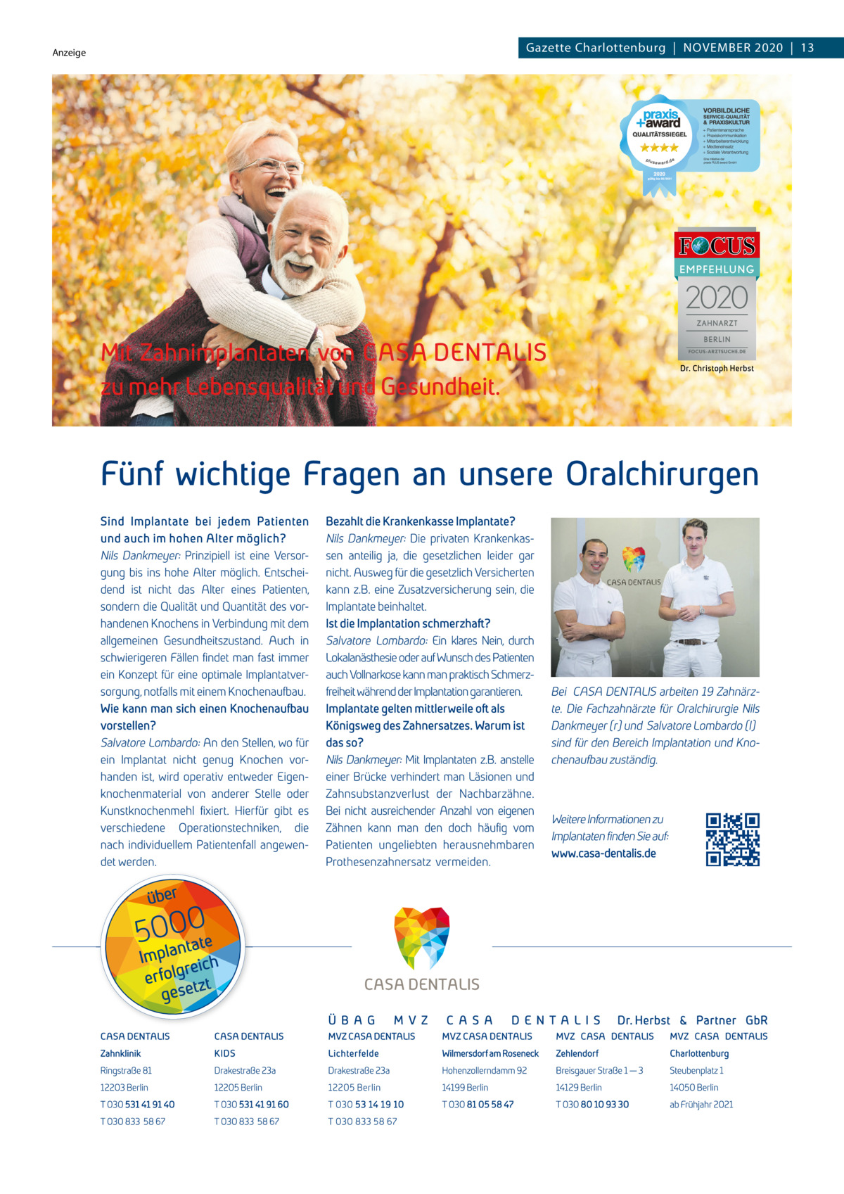 Anzeige  Gazette Charlottenburg|November 2020|13