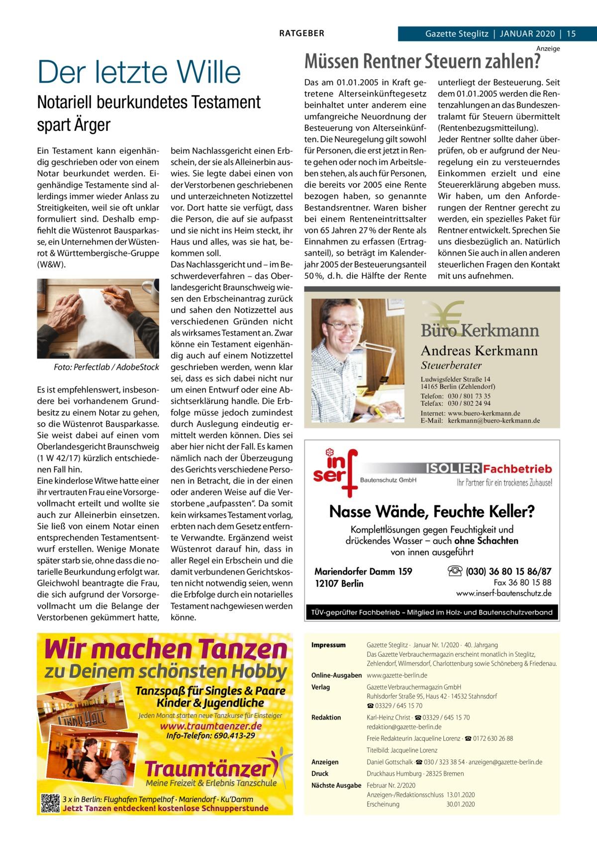 RATGEBER  Der letzte Wille Notariell beurkundetes Testament spart Ärger Ein Testament kann eigenhändig geschrieben oder von einem Notar beurkundet werden. Eigenhändige Testamente sind allerdings immer wieder Anlass zu Streitigkeiten, weil sie oft unklar formuliert sind. Deshalb empfiehlt die Wüstenrot Bausparkasse, ein Unternehmen der Wüstenrot & Württembergische-Gruppe (W&W).  �  Foto: Perfectlab / AdobeStock  Es ist empfehlenswert, insbesondere bei vorhandenem Grundbesitz zu einem Notar zu gehen, so die Wüstenrot Bausparkasse. Sie weist dabei auf einen vom Oberlandesgericht Braunschweig (1W42/17) kürzlich entschiedenen Fall hin. Eine kinderlose Witwe hatte einer ihr vertrauten Frau eine Vorsorgevollmacht erteilt und wollte sie auch zur Alleinerbin einsetzen. Sie ließ von einem Notar einen entsprechenden Testamentsentwurf erstellen. Wenige Monate später starb sie, ohne dass die notarielle Beurkundung erfolgt war. Gleichwohl beantragte die Frau, die sich aufgrund der Vorsorgevollmacht um die Belange der Verstorbenen gekümmert hatte,  beim Nachlassgericht einen Erbschein, der sie als Alleinerbin auswies. Sie legte dabei einen von der Verstorbenen geschriebenen und unterzeichneten Notizzettel vor. Dort hatte sie verfügt, dass die Person, die auf sie aufpasst und sie nicht ins Heim steckt, ihr Haus und alles, was sie hat, bekommen soll. Das Nachlassgericht und – im Beschwerdeverfahren – das Oberlandesgericht Braunschweig wiesen den Erbscheinantrag zurück und sahen den Notizzettel aus verschiedenen Gründen nicht als wirksames Testament an. Zwar könne ein Testament eigenhändig auch auf einem Notizzettel geschrieben werden, wenn klar sei, dass es sich dabei nicht nur um einen Entwurf oder eine Absichtserklärung handle. Die Erbfolge müsse jedoch zumindest durch Auslegung eindeutig ermittelt werden können. Dies sei aber hier nicht der Fall. Es kamen nämlich nach der Überzeugung des Gerichts verschiedene Personen in Betracht, die in der einen oder anderen Weise auf die Verst