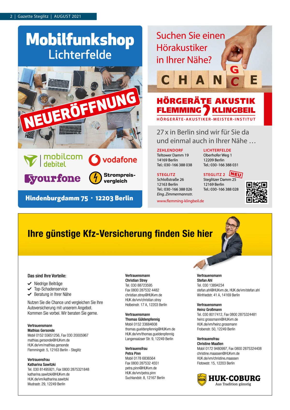 2 Gazette Steglitz August 2021  Mobilfunkshop Lichterfelde  Ö R E U NE  G N U FFN  Strompreisvergleich  Hindenburgdamm 75 · 12203 Berlin