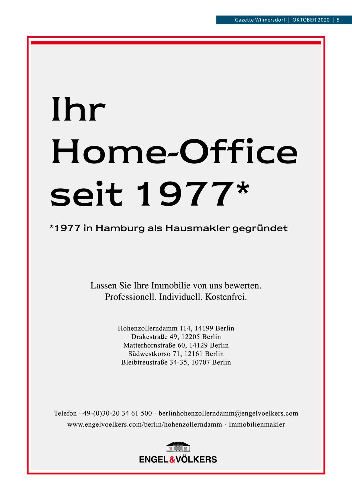 Gazette Wilmersdorf|OKTOBER 2020|5