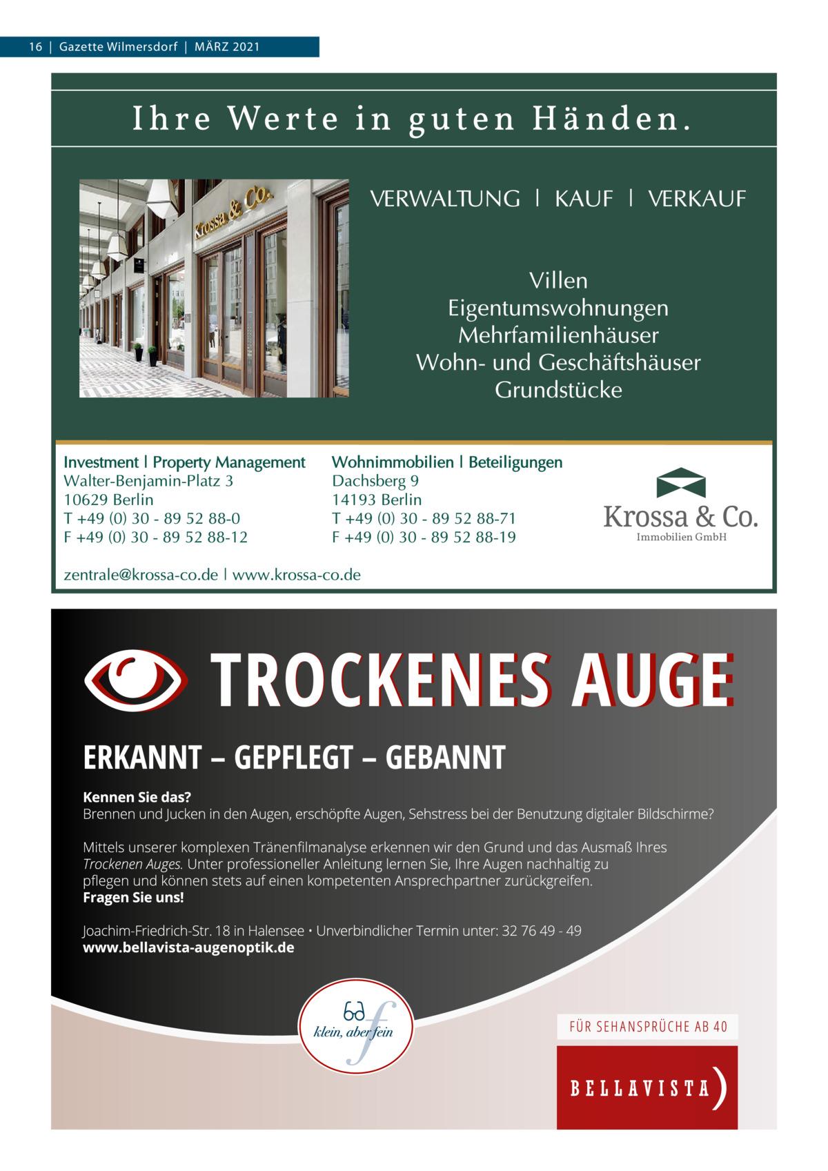 16|Gazette Wilmersdorf|März 2021  Immobilien GmbH