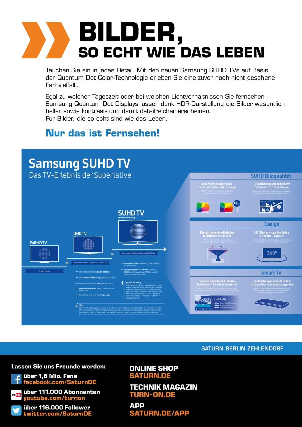 BILDER,  SO ECHT WIE DAS LEBEN Tauchen Sie ein in jedes Detail. Mit den neuen Samsung SUHD TVs auf Basis der Quantum Dot Color-Technologie erleben Sie eine zuvor noch nicht gesehene Farbvielfalt. Egal zu welcher Tageszeit oder bei welchen Lichtverhältnissen Sie fernsehen − Samsung Quantum Dot Displays lassen dank HDR-Darstellung die Bilder wesentlich heller sowie kontrast- und damit detailreicher erscheinen. Für Bilder, die so echt sind wie das Leben.  Nur das ist Fernsehen!  Samsung SUHD TV  Das TV-Erlebnis der Superlative  SUHD Bildqualität Lebensechte Farben dank Quantum-Dot-Color-Technologie SUHD TV bietet 64x mehr Farben im Vergleich zu konventionellen LED-Fernsehern.  Ultrascharfe Bilder und scharfe Details durch UHD-Auflösung Ultrascharfe Bilder und Details dank viermal so vieler Bildpunkte wie bei bisher üblichen Full-HD-Geräten.  64  SUHD 3840 x 2160 px  fache Farbtiefe  4X  FULL HD 1920 x 1080 px  Design Räumliches und realistisches Bilderlebnis wie im Kino Atemberaubende Tiefenwirkung für einen räumlichen Bildeindruck – ganz ohne 3D-Brille. Curved  Lebensechte Bilder dank Quantum Dot Display  Ultrascharfe Details & intensives Farberlebnis  Scharfe Details  UHD-Auflösung für noch schärfere Details  360° Design - von allen Seiten ein echter Hingucker Rahmen, Standfuß sowie das stylische Design-Element auf der Rückseite sind im edlen Metall-Look.  Flat  ERWEITERTES SICHTFELD  360°  Lebensechte Farben dank Quantum Dot Display (siehe Infokasten) Spitzenhelligkeit und Kontrast für optimale HDR-Darstellung von bspw. UHD Blu-rays oder Streaming-Inhalten mit HDR  Smart TV  UHD Premium Zertifizierung von der UHD Alliance Basisunterstützung von HDR (siehe Infokasten) Intensives Farberlebnis wie im Kino dank Active Crystal Color Komfortable Bedienung dank Single Access  Quantum Dot Display Dank der Samsung Quantum Dot Display-Technologie wird eine Kombination aus Helligkeit und einer höheren Anzahl darstellbarer Farben erzielt. Man spricht von einem erweiterten Farbr