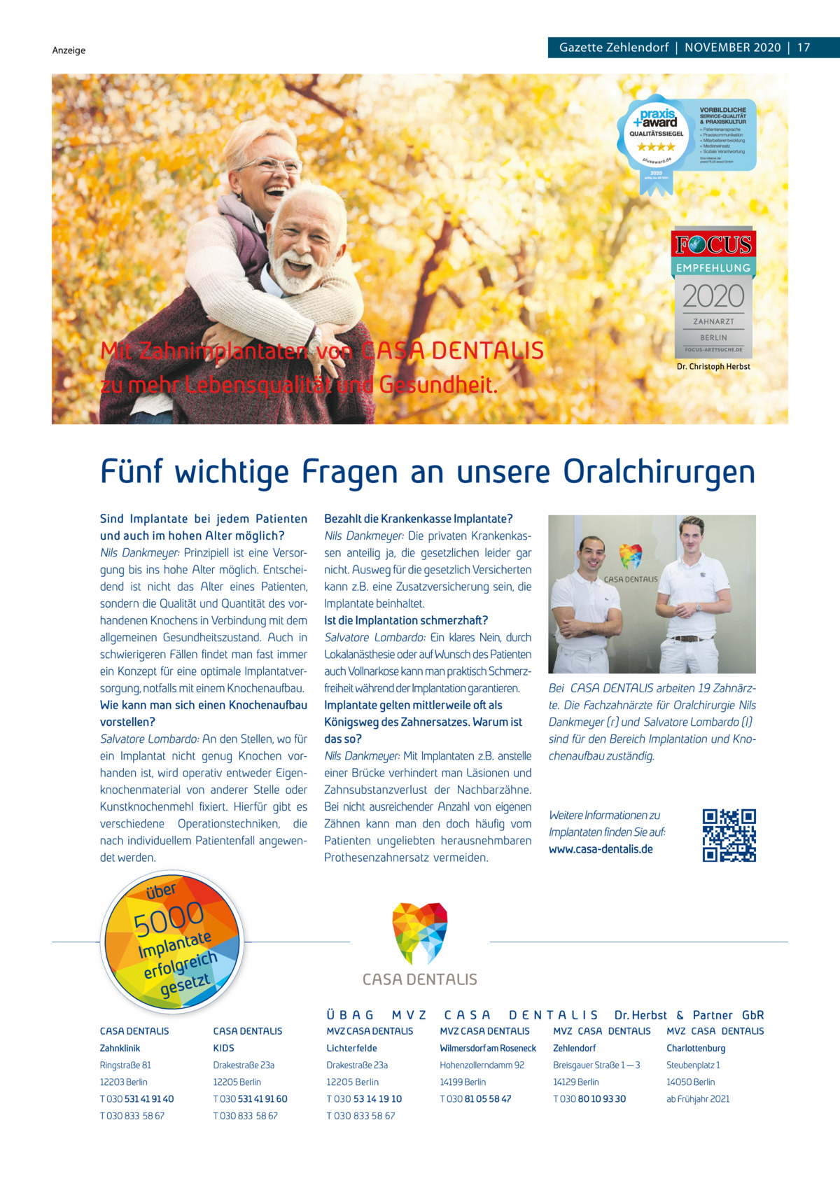 Anzeige  Gazette Zehlendorf  |  November 2020  |  17