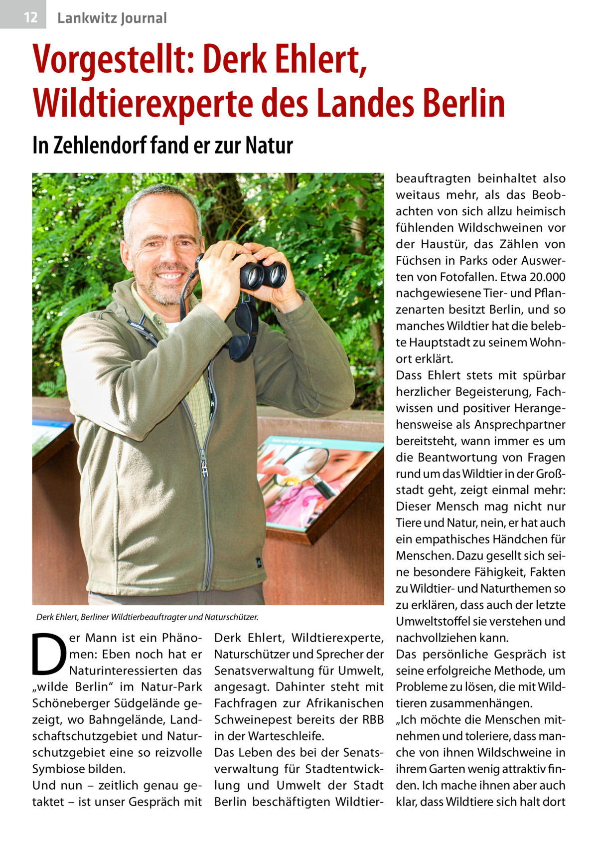 """12  Lankwitz Journal  Vorgestellt: Derk Ehlert, Wildtierexperte des Landes Berlin In Zehlendorf fand er zur Natur  Derk Ehlert, Berliner Wildtierbeauftragter und Naturschützer.  D  er Mann ist ein Phänomen: Eben noch hat er Naturinteressierten das """"wilde Berlin"""" im Natur-Park Schöneberger Südgelände gezeigt, wo Bahngelände, Landschaftschutzgebiet und Naturschutzgebiet eine so reizvolle Symbiose bilden. Und nun – zeitlich genau getaktet – ist unser Gespräch mit  Derk Ehlert, Wildtierexperte, Naturschützer und Sprecher der Senatsverwaltung für Umwelt, angesagt. Dahinter steht mit Fachfragen zur Afrikanischen Schweinepest bereits der RBB in der Warteschleife. Das Leben des bei der Senatsverwaltung für Stadtentwicklung und Umwelt der Stadt Berlin beschäftigten Wildtier beauftragten beinhaltet also weitaus mehr, als das Beobachten von sich allzu heimisch fühlenden Wildschweinen vor der Haustür, das Zählen von Füchsen in Parks oder Auswerten von Fotofallen. Etwa 20.000 nachgewiesene Tier- und Pflanzenarten besitzt Berlin, und so manches Wildtier hat die belebte Hauptstadt zu seinem Wohnort erklärt. Dass Ehlert stets mit spürbar herzlicher Begeisterung, Fachwissen und positiver Herangehensweise als Ansprechpartner bereitsteht, wann immer es um die Beantwortung von Fragen rund um das Wildtier in der Großstadt geht, zeigt einmal mehr: Dieser Mensch mag nicht nur Tiere und Natur, nein, er hat auch ein empathisches Händchen für Menschen. Dazu gesellt sich seine besondere Fähigkeit, Fakten zu Wildtier- und Naturthemen so zu erklären, dass auch der letzte Umweltstoffel sie verstehen und nachvollziehen kann. Das persönliche Gespräch ist seine erfolgreiche Methode, um Probleme zu lösen, die mit Wildtieren zusammenhängen. """"Ich möchte die Menschen mitnehmen und toleriere, dass manche von ihnen Wildschweine in ihrem Garten wenig attraktiv finden. Ich mache ihnen aber auch klar, dass Wildtiere sich halt dort"""