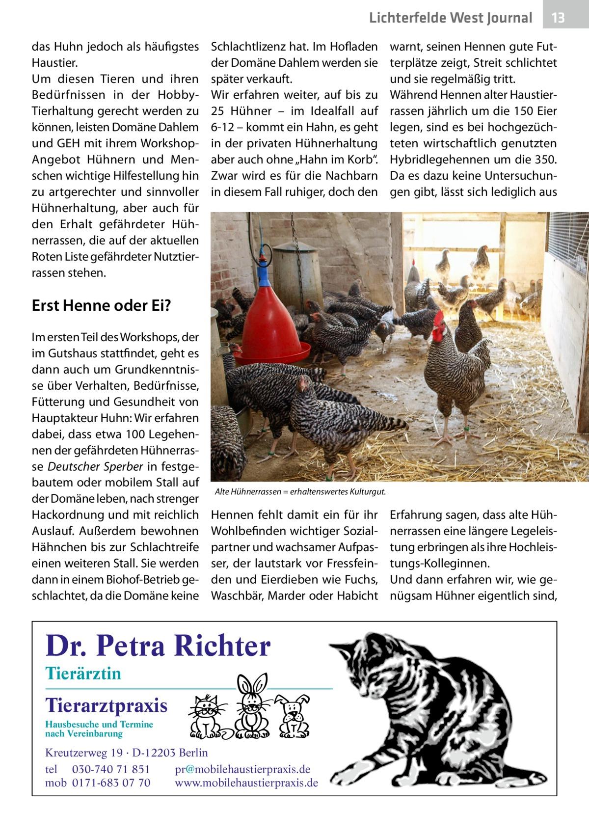 """Lichterfelde West Journal das Huhn jedoch als häufigstes Haustier. Um diesen Tieren und ihren Bedürfnissen in der HobbyTierhaltung gerecht werden zu können, leisten Domäne Dahlem und GEH mit ihrem WorkshopAngebot Hühnern und Menschen wichtige Hilfestellung hin zu artgerechter und sinnvoller Hühnerhaltung, aber auch für den Erhalt gefährdeter Hühnerrassen, die auf der aktuellen Roten Liste gefährdeter Nutztierrassen stehen.  Schlachtlizenz hat. Im Hofladen der Domäne Dahlem werden sie später verkauft. Wir erfahren weiter, auf bis zu 25 Hühner – im Idealfall auf 6-12 – kommt ein Hahn, es geht in der privaten Hühnerhaltung aber auch ohne """"Hahn im Korb"""". Zwar wird es für die Nachbarn in diesem Fall ruhiger, doch den  13 13  warnt, seinen Hennen gute Futterplätze zeigt, Streit schlichtet und sie regelmäßig tritt. Während Hennen alter Haustierrassen jährlich um die 150 Eier legen, sind es bei hochgezüchteten wirtschaftlich genutzten Hybridlegehennen um die 350. Da es dazu keine Untersuchungen gibt, lässt sich lediglich aus  Erst Henne oder Ei? Im ersten Teil des Workshops, der im Gutshaus stattfindet, geht es dann auch um Grundkenntnisse über Verhalten, Bedürfnisse, Fütterung und Gesundheit von Hauptakteur Huhn: Wir erfahren dabei, dass etwa 100Legehennen der gefährdeten Hühnerrasse Deutscher Sperber in festgebautem oder mobilem Stall auf der Domäne leben, nach strenger Hackordnung und mit reichlich Auslauf. Außerdem bewohnen Hähnchen bis zur Schlachtreife einen weiteren Stall. Sie werden dann in einem Biohof-Betrieb geschlachtet, da die Domäne keine  Alte Hühnerrassen = erhaltenswertes Kulturgut.  Hennen fehlt damit ein für ihr Wohlbefinden wichtiger Sozialpartner und wachsamer Aufpasser, der lautstark vor Fressfeinden und Eierdieben wie Fuchs, Waschbär, Marder oder Habicht  Dr. Petra Richter Tierärztin  Tierarztpraxis Hausbesuche und Termine nach Vereinbarung  ���  Kreutzerweg 19 · D-12203 Berlin tel 030-740 71 851 pr@mobilehaustierpraxis.de mob 0171-683 07 70 www.mobil"""