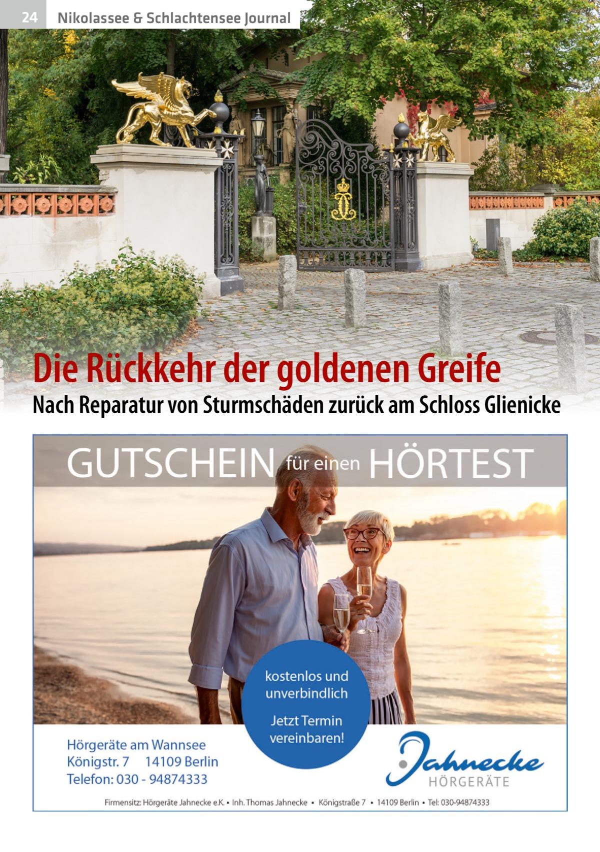 24  Nikolassee & Schlachtensee Journal  Die Rückkehr der goldenen Greife  Nach Reparatur von Sturmschäden zurück am Schloss Glienicke