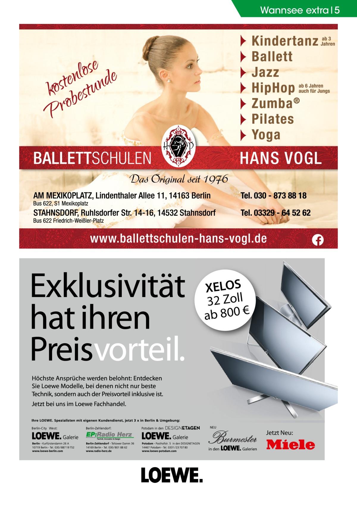 Wannsee extra 5  XELOS 32 Zoll ab 800 €  NEU  in den  Jetzt Neu: Galerien