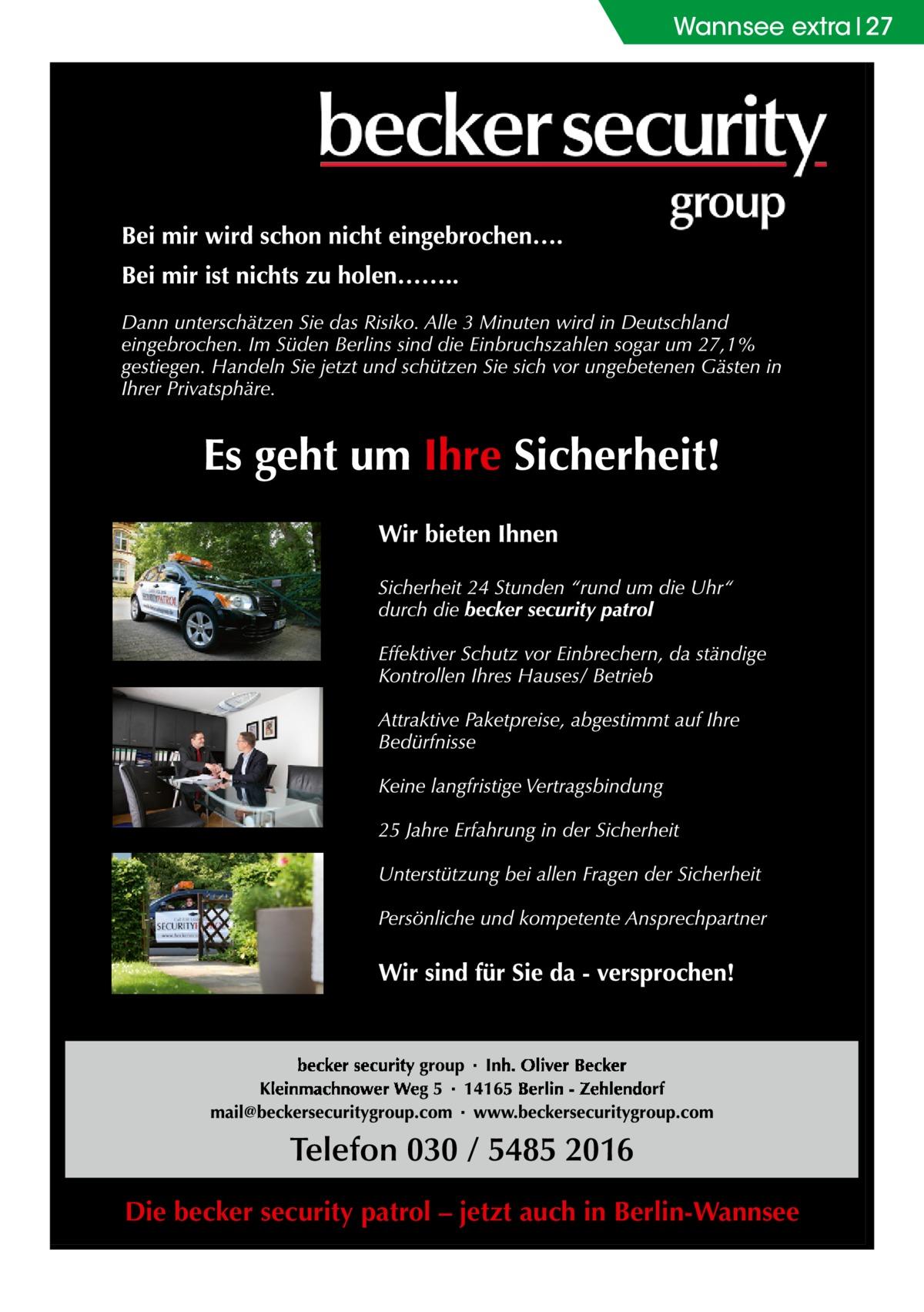 Wannsee extra 27  Die becker security patrol – jetzt auch in Berlin-Wannsee
