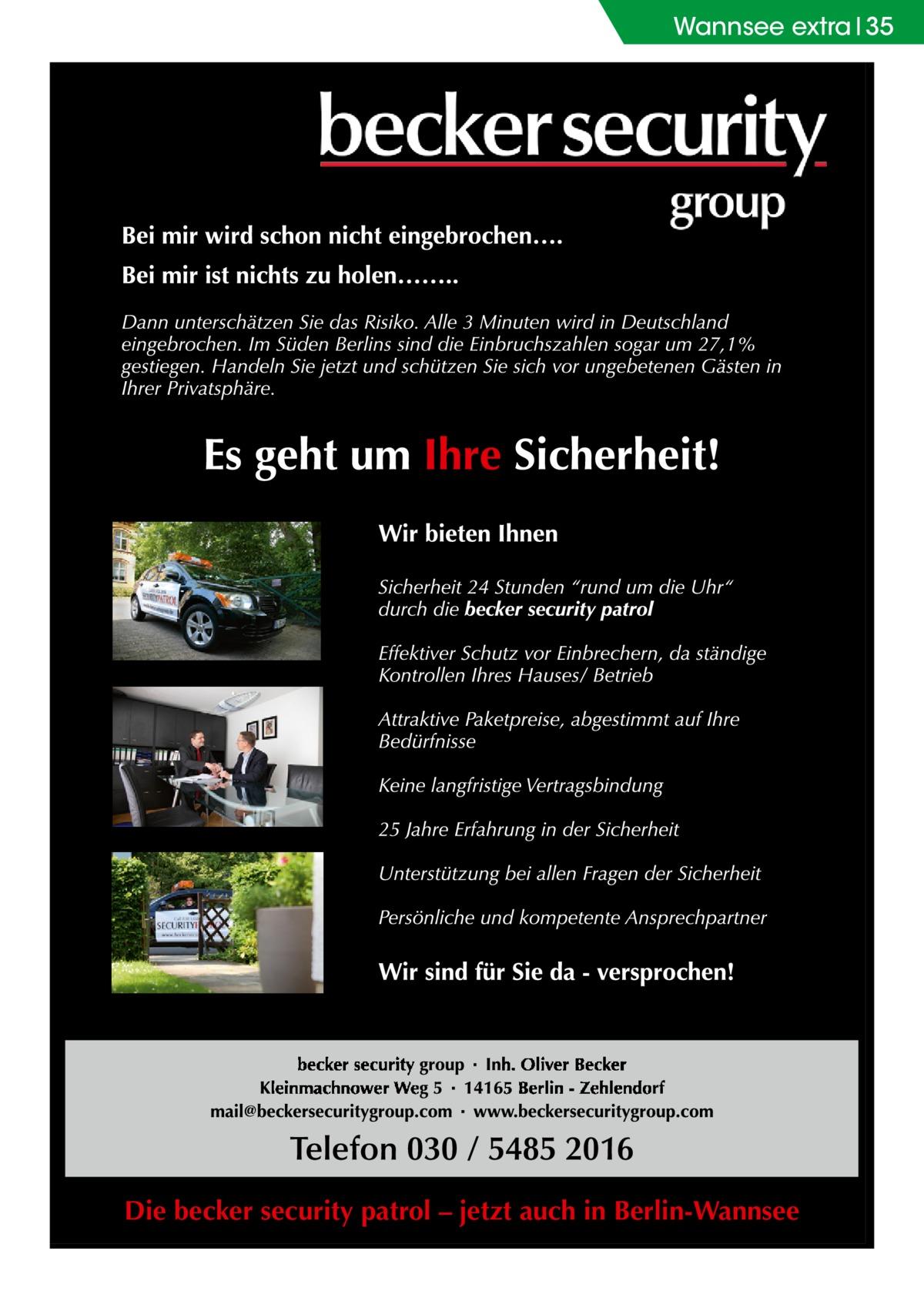 Wannsee extra 35  Die becker security patrol – jetzt auch in Berlin-Wannsee