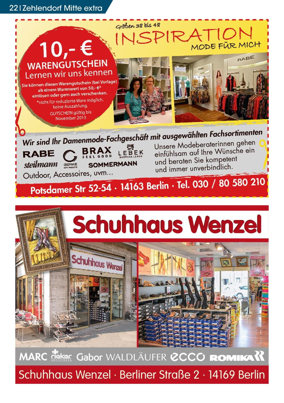 22 zehlendorf mitte extra  MARC  Schuhhaus Wenzel · Berliner Straße 2 · 14169 Berlin