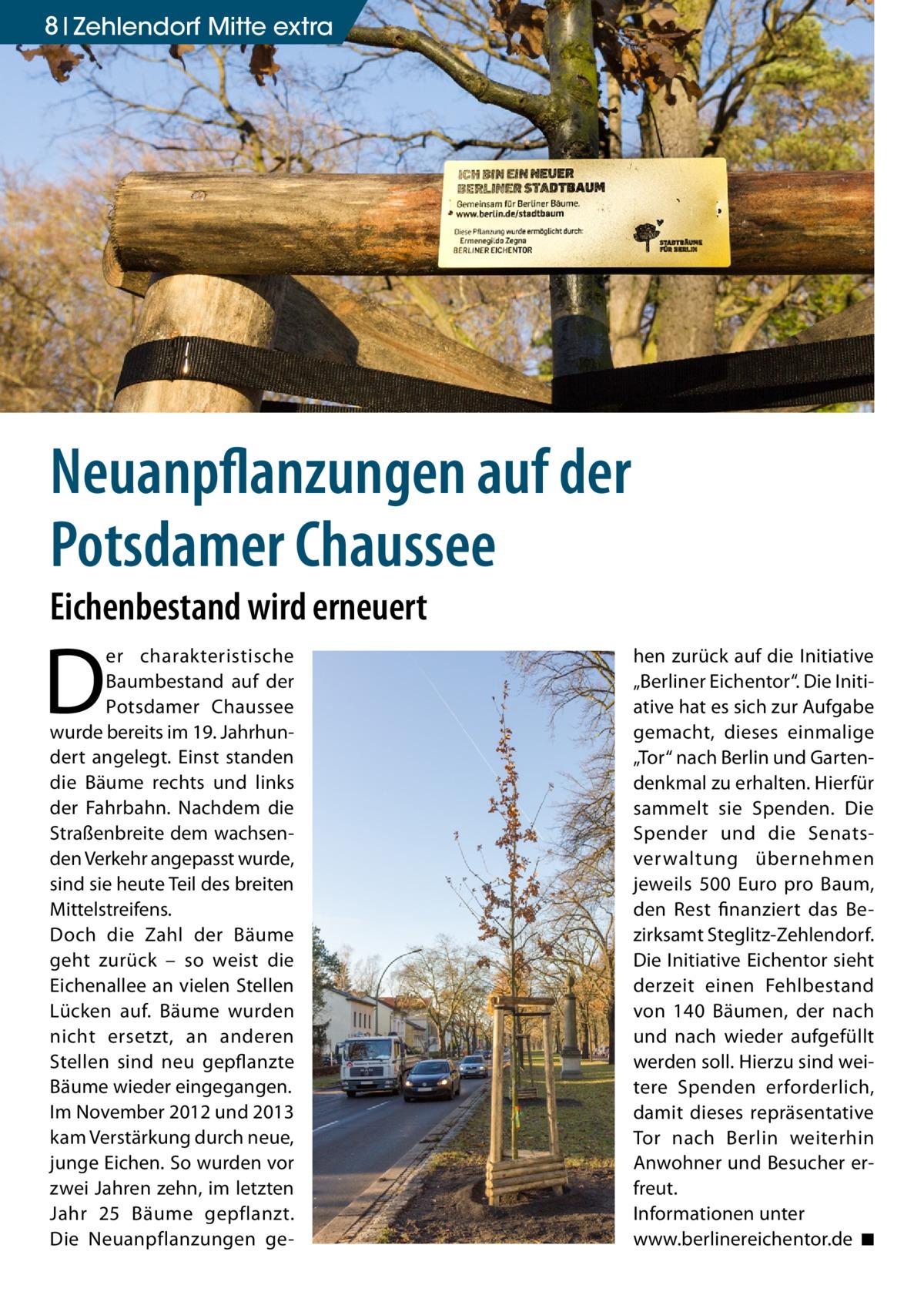 """8 Zehlendorf Mitte extra  Neuanpflanzungen auf der Potsdamer Chaussee Eichenbestand wird erneuert  D  er charakteristische Baumbestand auf der Potsdamer Chaussee wurde bereits im 19. Jahrhundert angelegt. Einst standen die Bäume rechts und links der Fahrbahn. Nachdem die Straßenbreite dem wachsenden Verkehr angepasst wurde, sind sie heute Teil des breiten Mittelstreifens. Doch die Zahl der Bäume geht zurück – so weist die Eichenallee an vielen Stellen Lücken auf. Bäume wurden nicht ersetzt, an anderen Stellen sind neu gepflanzte Bäume wieder eingegangen. Im November 2012 und 2013 kam Verstärkung durch neue, junge Eichen. So wurden vor zwei Jahren zehn, im letzten Jahr 25 Bäume gepflanzt. Die Neuanpflanzungen ge hen zurück auf die Initiative """"Berliner Eichentor"""". Die Initiative hat es sich zur Aufgabe gemacht, dieses einmalige """"Tor"""" nach Berlin und Gartendenkmal zu erhalten. Hierfür sammelt sie Spenden. Die Spender und die Senatsverwaltung übernehmen jeweils 500 Euro pro Baum, den Rest finanziert das Bezirksamt Steglitz-Zehlendorf. Die Initiative Eichentor sieht derzeit einen Fehlbestand von 140 Bäumen, der nach und nach wieder aufgefüllt werden soll. Hierzu sind weitere Spenden erforderlich, damit dieses repräsentative Tor nach Berlin weiterhin Anwohner und Besucher erfreut. Informationen unter www.berlinereichentor.de � ◾"""