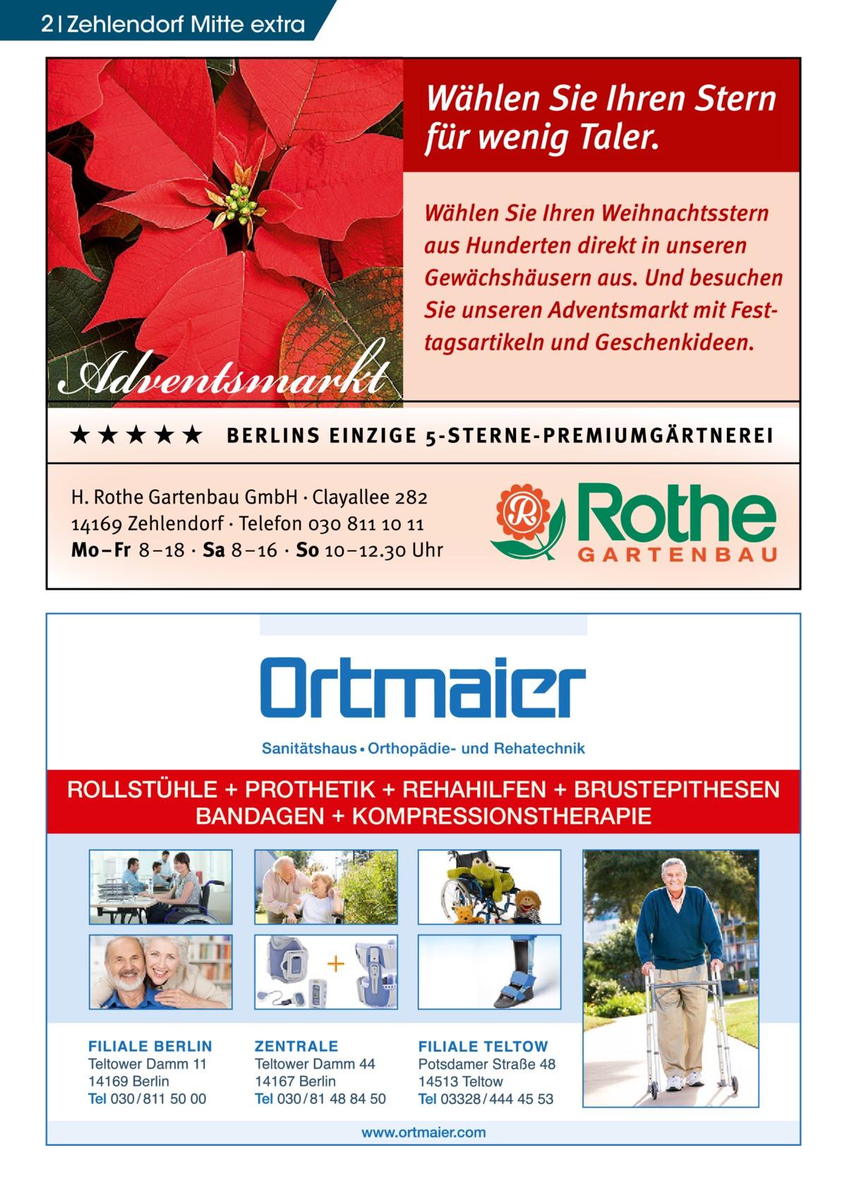 2 Zehlendorf Mitte extra  ROLLSTÜHLE + PROTHETIK + REHAHILFEN + BRUSTEPITHESEN BANDAGEN + KOMPRESSIONSTHERAPIE