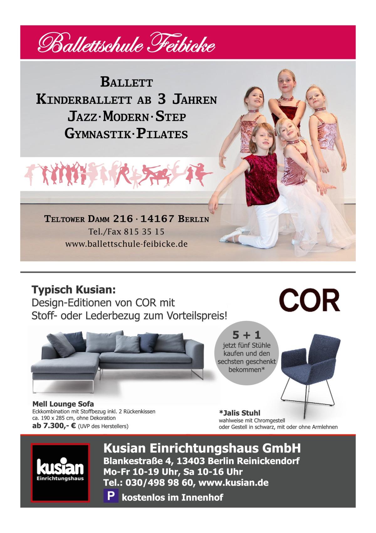 BALLETT KINDERBALLETT AB 3 JAHREN JAZZ·MODERN·STEP GYMNASTIK·PILATES  TELTOWER DAMM 216·14167 BERLIN Tel./Fax 815 35 15 www.ballettschule-feibicke.de