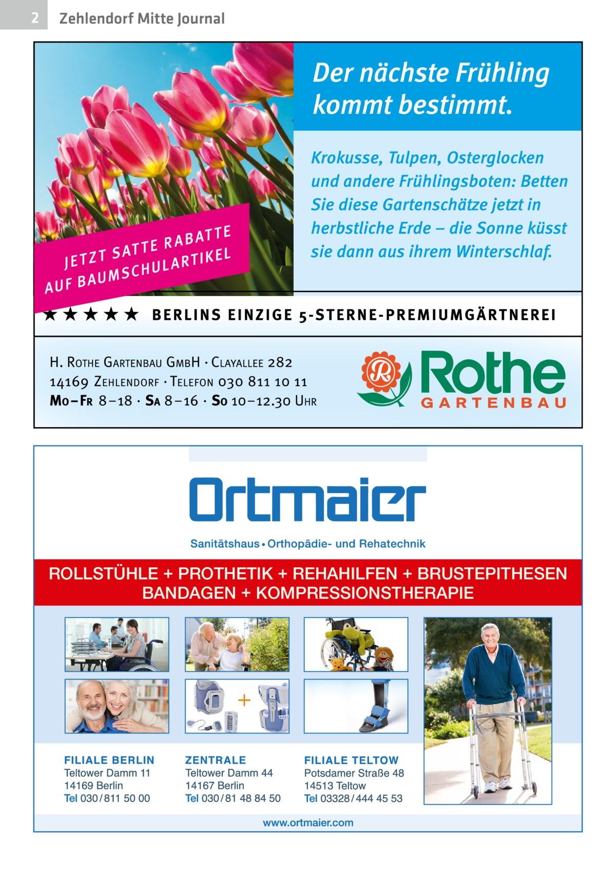 2  Zehlendorf Mitte Journal  ROLLSTÜHLE + PROTHETIK + REHAHILFEN + BRUSTEPITHESEN BANDAGEN + KOMPRESSIONSTHERAPIE
