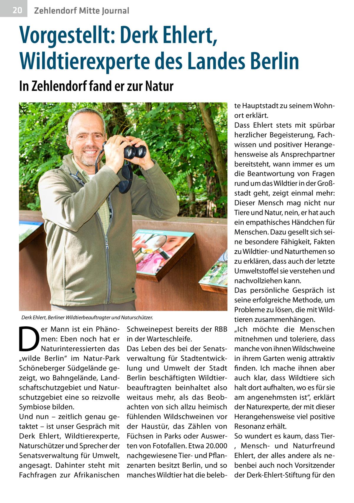 """20  Zehlendorf Mitte Journal  Vorgestellt: Derk Ehlert, Wildtierexperte des Landes Berlin In Zehlendorf fand er zur Natur  Derk Ehlert, Berliner Wildtierbeauftragter und Naturschützer.  D  er Mann ist ein Phänomen: Eben noch hat er Naturinteressierten das """"wilde Berlin"""" im Natur-Park Schöneberger Südgelände gezeigt, wo Bahngelände, Landschaftschutzgebiet und Naturschutzgebiet eine so reizvolle Symbiose bilden. Und nun – zeitlich genau getaktet – ist unser Gespräch mit Derk Ehlert, Wildtierexperte, Naturschützer und Sprecher der Senatsverwaltung für Umwelt, angesagt. Dahinter steht mit Fachfragen zur Afrikanischen  Schweinepest bereits der RBB in der Warteschleife. Das Leben des bei der Senatsverwaltung für Stadtentwicklung und Umwelt der Stadt Berlin beschäftigten Wildtierbeauftragten beinhaltet also weitaus mehr, als das Beobachten von sich allzu heimisch fühlenden Wildschweinen vor der Haustür, das Zählen von Füchsen in Parks oder Auswerten von Fotofallen. Etwa 20.000 nachgewiesene Tier- und Pflanzenarten besitzt Berlin, und so manches Wildtier hat die beleb te Hauptstadt zu seinem Wohnort erklärt. Dass Ehlert stets mit spürbar herzlicher Begeisterung, Fachwissen und positiver Herangehensweise als Ansprechpartner bereitsteht, wann immer es um die Beantwortung von Fragen rund um das Wildtier in der Großstadt geht, zeigt einmal mehr: Dieser Mensch mag nicht nur Tiere und Natur, nein, er hat auch ein empathisches Händchen für Menschen. Dazu gesellt sich seine besondere Fähigkeit, Fakten zu Wildtier- und Naturthemen so zu erklären, dass auch der letzte Umweltstoffel sie verstehen und nachvollziehen kann. Das persönliche Gespräch ist seine erfolgreiche Methode, um Probleme zu lösen, die mit Wildtieren zusammenhängen. """"Ich möchte die Menschen mitnehmen und toleriere, dass manche von ihnen Wildschweine in ihrem Garten wenig attraktiv finden. Ich mache ihnen aber auch klar, dass Wildtiere sich halt dort aufhalten, wo es für sie am angenehmsten ist"""", erklärt der Naturexper"""